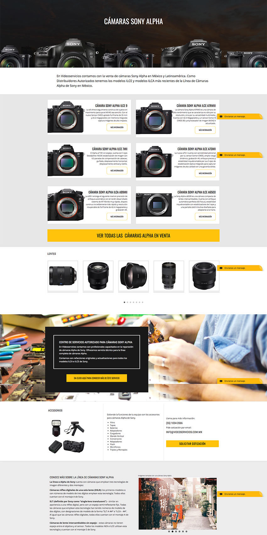 Cámaras Alpha website