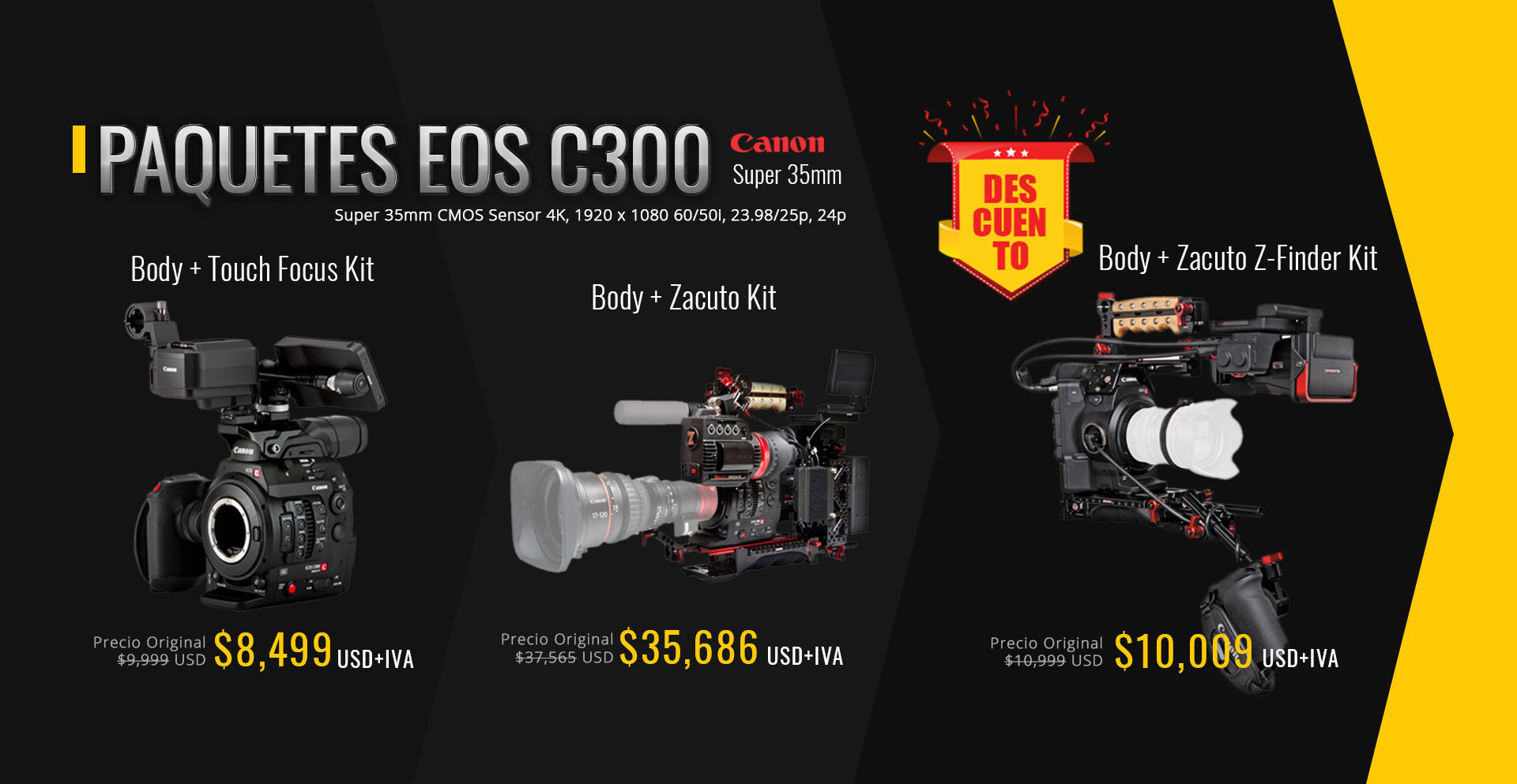 Promos Canon C300 paquetes